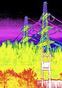 False Power Prints - Electricity Pylons, Thermogram Print by Tony Mcconnell