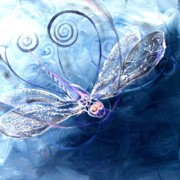 Spirals Prints - Electrified Dragonfly Print by J Vincent Scarpace