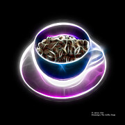 Rateitart Digital Art Prints - Electrifyin The Coffee Bean -Version Blue Print by James Ahn