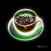 Rateitart Digital Art Prints - Electrifyin The Coffee Bean -Version Orange Print by James Ahn