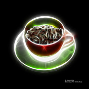 Rateitart Digital Art Prints - Electrifyin The Coffee Bean -Version Red Print by James Ahn