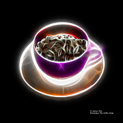 Rateitart Digital Art Prints - Electrifyin The Coffee Bean -Version Violet Print by James Ahn