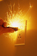 Fire Burns Photo Posters - Electrocution Hazard Poster by Alan Sirulnikoff