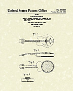 Strings Drawings Posters - Electronic Guitar 1963 Patent Art  Poster by Prior Art Design