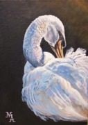 Waterfowl Paintings - Elegance by Marco Antonio Aguilar
