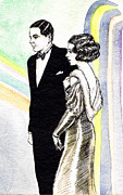 Fashion Plates Prints - Elegant Couple Print by Mel Thompson