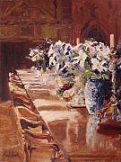 Antiques Paintings - Elegant Dining at Hearst Castle by Barbara Andolsek