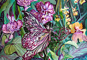 Butterfly Drawings Framed Prints - Elegant Dining Framed Print by Mindy Newman
