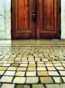 Mystery Door Framed Prints - Elegant Door and Mosaic Floor Framed Print by Jill Battaglia