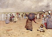 Beach Hut Paintings - Elegant Figures on a Beach by William Feron
