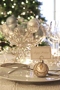 Dinnerware Posters - Elegant holiday dinner table with focus on place card Poster by Sandra Cunningham