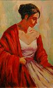 Lady In Red Painting Framed Prints - Elegant Lady Framed Print by Billie Colson