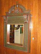 Hand Crafted Mixed Media - Elegant Milk Paint Mirror by Honyocker Furniture