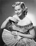 Old Woman Portrait Prints - Elegant Woman Holding Fan Posing In Studio, (b&w), Portrait Print by George Marks