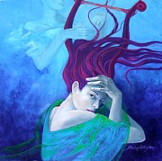 Turquoise And Red Posters - Elegy Poster by Dorina  Costras