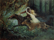 Flirting Paintings - Elegy of Bohemia by Adolf Liebscher