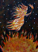 Charlotte Painting Posters - Elemental Earth Angel of Fire Poster by The Art With A Heart By Charlotte Phillips