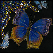 Yakubovich Prints - Elena Yakubovich - Butterfly 2x2 lower right corner Print by Elena Yakubovich