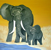 Amy Sorrell Paintings - Elephant by Amy Sorrell