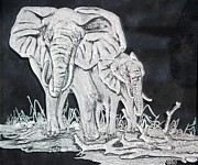 Etching Glass Art Prints - Elephant and Calf Print by Akoko Okeyo