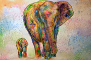 Calf Mixed Media - Elephant and Calf by Morgo Sladek