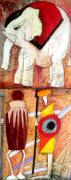 Italy Town Large Paintings - Elephant and warriors by Anita