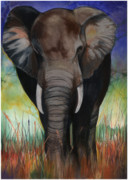 Ground Mixed Media Prints - Elephant Print by Anthony Burks