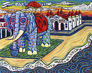 Bazaar Paintings - Elephant Bazaar by Christie Mealo