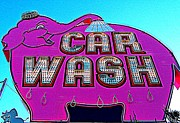 Car Wash Posters - Elephant Car Wash Boost Poster by Randall Weidner