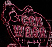 Car Wash Posters - Elephant Car Wash Neon Poster by Randall Weidner