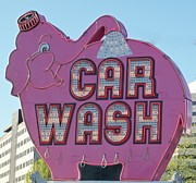 Car Wash Posters - Elephant Car Wash Poster by Randall Weidner