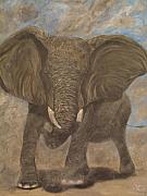 Elephant Art Prints - Elephant Charging Print by Nick Gustafson