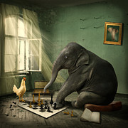 Grey Metal Prints - Elephant Chess Metal Print by Ethiriel  Photography