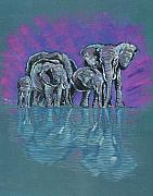 John Keaton Paintings - Elephant Family by John Keaton
