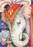 Smile Drawings Posters - Elephant Flowers Poster by Amy S Turner