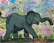 Gretzky Paintings - Elephant by Paintings by Gretzky
