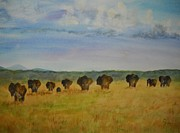 Herd Of Elephants Posters - Elephant Herd of Kenya Poster by Rita Eddy