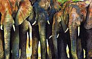 Animal Painting Framed Prints - Elephant Herd Framed Print by Paul Dene Marlor