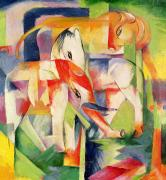 Expressionist Horse Framed Prints - Elephant Horse and Cow Framed Print by Franz Marc