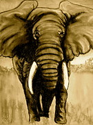 Animals Pastels Originals - Elephant II sepia by Pete Maier