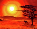 Zenbreeze Paintings - Elephant in a Bright Sunset by Laura Iverson
