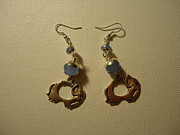 Elephant Jewelry Posters - Elephant in Blue Earrings Poster by Jenna Green