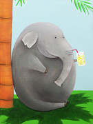 Youthful Painting Metal Prints - Elephant in the Shade Metal Print by Lael Borduin
