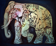 Head Shot Painting Prints - Elephant Print by Kitsana Tasing
