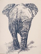 Works Drawings Originals - Elephant leaving by Cecilia Putter
