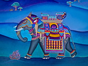Board Mixed Media Originals - Elephant  by Lori Miller