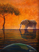 Surrealistic Paintings - Elephant of Earth by Sandro Giacomangeli