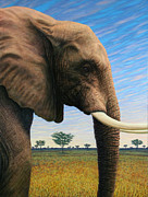 Elephant Painting Posters - Elephant on Safari Poster by James W Johnson