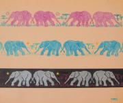 John Keaton Drawings - Elephant Pattern by John Keaton
