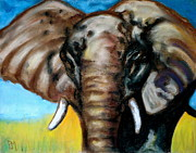 Africa Pastels Framed Prints - Elephant Framed Print by Pete Maier